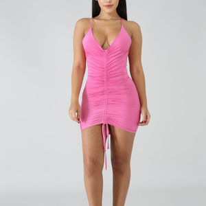 Dresses & Skirts - Pink Scrunched Up Bodycon Mini Dress